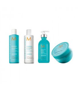 Moroccanoil Pack Smooth: Champú (250ml) + Acondicionador (250ml) + Mascarila (250ml) + Loción Alisante (300ml)