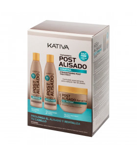 Kativa Post Alisado Kit x 3 uds (Champú + Acondicionador + Mascarilla 250ml)