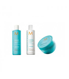 Moroccanoil Trio Smooth (Cabello Rebelde/Encrespado): Champú (250ml) + Acondicionador (250ml) + Mascarilla (250ml)