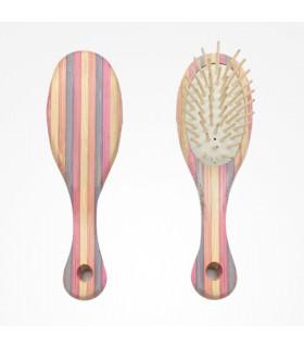 Bifull Cepillo Mini Striped Bamboo Ovalado Púa Madera