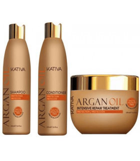 Kativa Argan Oil Pack: Champú (250ml) + Acondicionador (250ml) + Mascarilla (250ml)