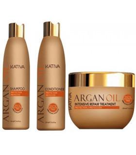 Kativa Argan Oil Pack: Champú (250ml) + Acondicionador (250ml) + Mascarilla (250ml)