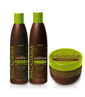 Kativa Macadamia Pack: Champú (250ml) + Acondicionador (250ml) + Tratamiento (250ml)
