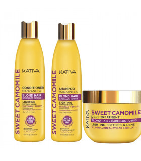 Kativa Sweet Camomile Pack: Champú (250ml) + Acondicionador (250ml) + Mascarilla (250ml)