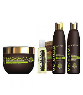 Kativa Macadamia Pack: Champú (250ml) + Acondicionador (250ml) + Tratamiento (250ml) +  Hidrating Oil (60ml)