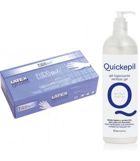 Caja 100 Guantes Medianos Latex + Gel Hidroalcoholico 500ml