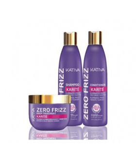 Kativa Zero Frizz Pack: Champú (250ml) + Acondicionador (250ml) + Mascarilla (250ml)