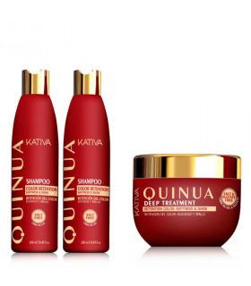 Kativa Quinoa Pack: Champú (250ml) + Acondicionador (250ml) + Mascarilla (250ml)
