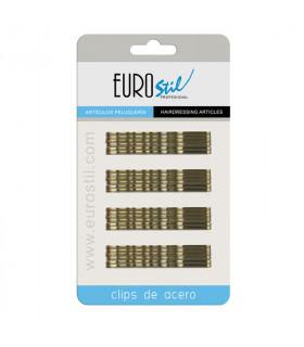 Eurostil Cartón 24 Clips Ondulados Bronce 7cm