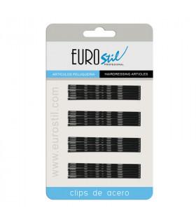 Eurostil Cartón 24 Clips Ondulados Negros 7cm