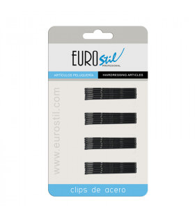 Eurostil Cartón 24 Clips Ondulados Negros 5cm