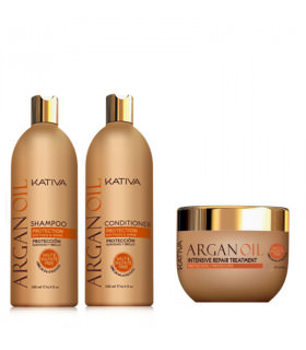 Kativa Argan Oil Pack: Champú (500ml) + Acondicionador (500ml) + Mascarilla (500ml)