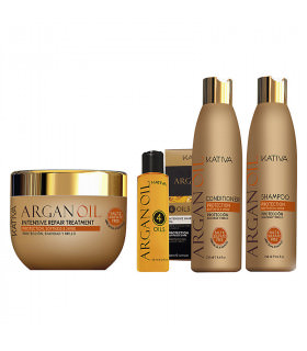 Kativa Argan Oil Pack: Champú (250ml) + Acondicionador (250ml) + Mascarilla (250ml) + Argan Oil 4 Oils (60ml)