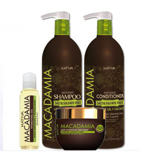 Kativa Macadamia Pack: Champú (1000ml) + Acondicionador (1000ml) + Tratamiento (500ml) + Hidrating Oil (60ml)