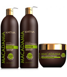 Kativa Macadamia Pack: Champú (1000ml) + Acondicionador (1000ml) + Tratamiento (500ml)