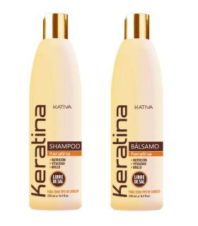 Kativa Keratina Pack: Champú (250ml) + Acondicionador (250ml)