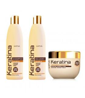 Kativa Keratina Pack: Champú (250ml) + Acondicionador (250ml) + Tratamiento Intensivo (250ml)