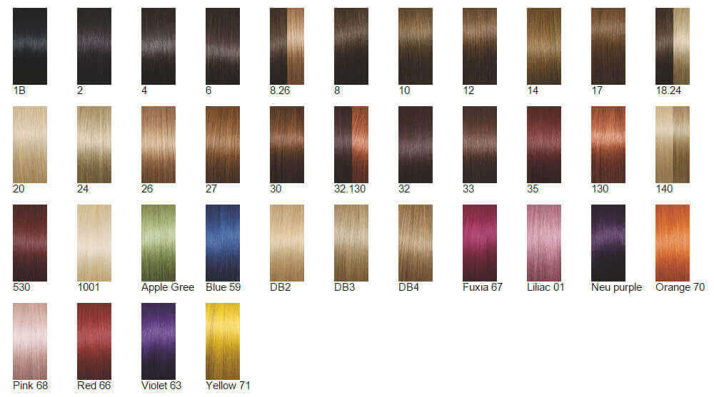 Carta colores extensiones adhesivas